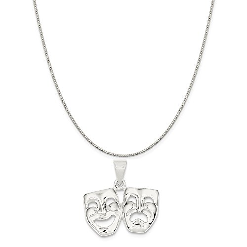 Comedy Tragedy Necklace - Mireval Sterling Silver Comedy/Tragedy Charm on a Sterling Silver Carded Box Chain Necklace, 18