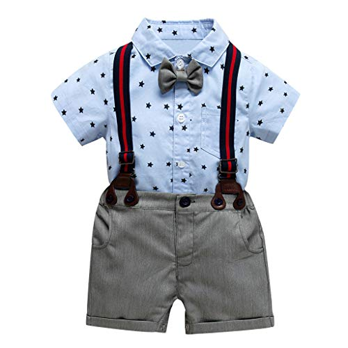 ❤Ywoow❤❤ , Toddler Baby Boy Kids Gentleman Stars Bow Tops T-Shirt Solid Short Pants Outfits -