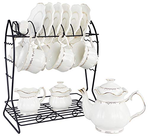 Porcelain Ceramic Coffee Tea Sets 21 Pieces with Metal Holder,Cups and Saucers Sets and Spoons for 6,with Teapot Sugar Bowl Cream Pitcher ()