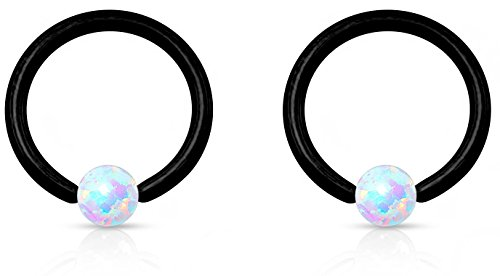 2-Pack: 16g 8mm Surgical Steel Synthetic Opal & Black Titanium IP Plated CBR Hoop Rings