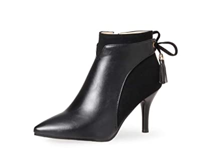 141fa303987 LYLIFE Womens Mid Kitten Heel Stretch Ankle Boots Smart Office Leather Shoes (Black-35