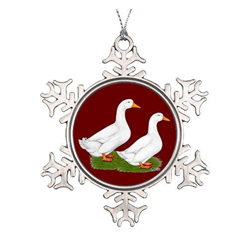 [Ducks: White Pekins Ceramic Round Christmas Ornament] (White Pekin Duck)