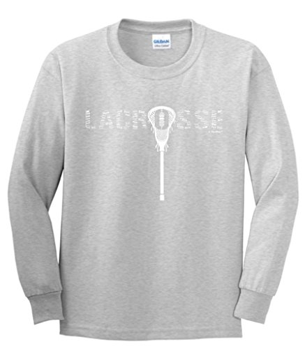 ft Lacrosse Word Collage Lacrosse Fan Gift Youth Long Sleeve T-Shirt Large SpGry ()