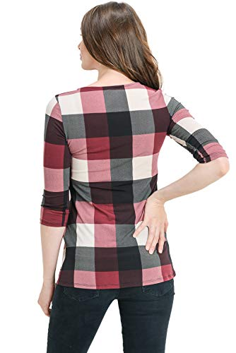 LaClef Women's Round Neck 3/4 Sleeve Front Pleat Peplum Maternity Top (Burgundy Plaid, M) by LaClef (Image #2)