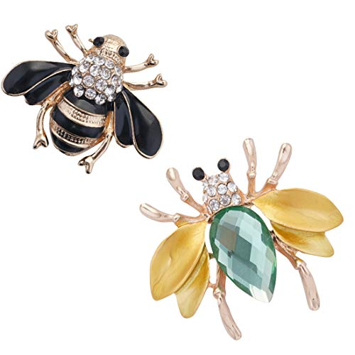 2Pcs Crystal Rhinestone Brooch Pin, Bee Brooch Pin Wedding Brooches for Women Girls Clothes Dress, Hat, Robe, Dress, Bouquet, Collar, Scarf Decoration from Shallylu