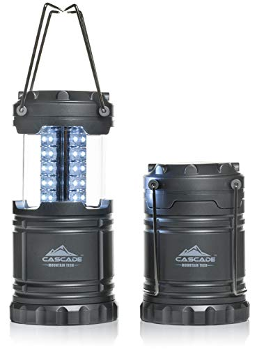 Cascade Mountain Tech Pop up LED Lantern -2 Pack- Perfect Lighting for Camping, BBQ's and Emergency Light
