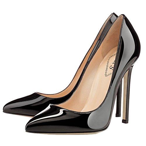 Charol Para De Negro Zapatos Eks Vestir Mujer qwtAF0x