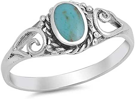Sterling Silver Vintage Antique Filigreee Turquoise Ring Sizes 5-10