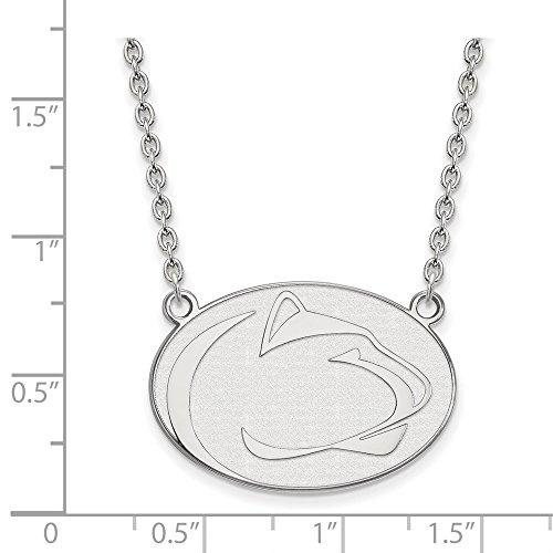 (10k White Gold Penn State University Nittany Lions Mascot Pendant Necklace L - (21 mm x 28 mm))