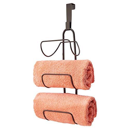 mDesign Modern Decorative Metal Wire Over Shower Door Towel Rack Holder Organizer - for Storage of Bathroom Towels, Washcloths, Hand Towels - 3 Tiers - Bronze (Bronze Towel Rack Tier)
