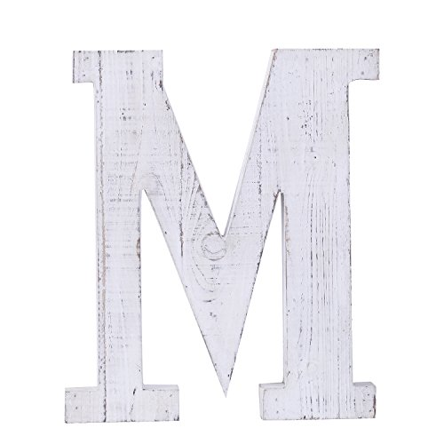 Adeco Wooden Hanging Wall Letters M - White Decorative Wall Letter of Living Room, Baby Name and Bedroom Decor, Whitewash by ADECO Trading