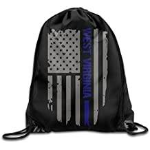 West Virginia Thin Blue Line American Flag Drawstring Pack Beam Mouth Gym Sack Rucksack Shoulder Bags For Men & Women