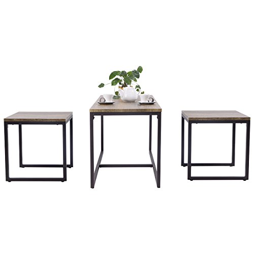 Moon Daughter 3 Piece Nesting Coffee Chairs & End Table Set Wood Modern Living Room Furniture Decor by Moon_Daughter