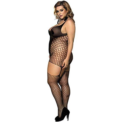 hueco de red sin mangas negro Expose pierna medias siameses más tamaño para el de las mujeres , XL XL