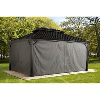 sojag polyester gazebos curtains for messina hard top sun shelter 10u0027