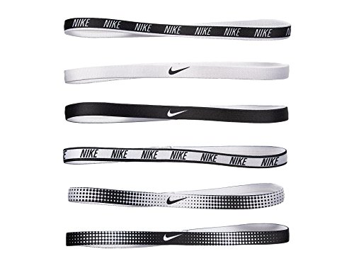 (Nike Women's Printed Headbands Assorted 6PK White/Black Size One Size)