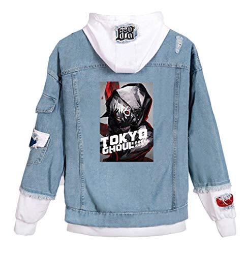 Gumstyle Anime Tokyo Ghoul Kaneki Ken Denim Hoodie Jacket Adult Cosplay Button Down Jeans Coat