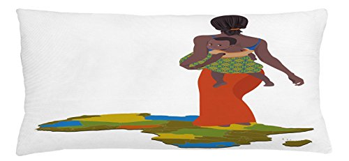 Ambesonne African Woman Throw Pillow Cushion Cover, Mother Carrying Baby Girl on Her Back Africa Country Culture Continent Map, Decorative Square Accent Pillow Case, 36 X 16 inches, Multicolor by Ambesonne