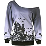 Women Halloween Costume Ghost Pumpkin Sweatshirt Long Sleeve Off Shoulder Top(P,XX-Large)