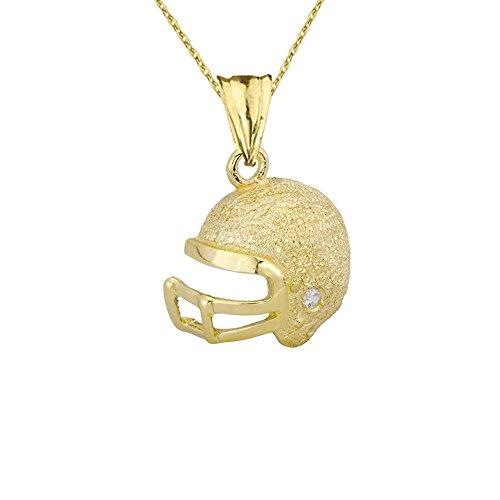 Fine Football Helmet Diamond in Textured 10k Yellow Gold Pendant Necklace, (10k Gold Football Pendant)