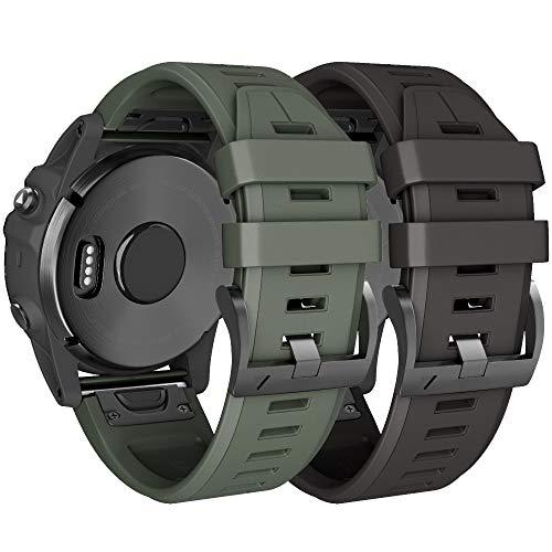 NotoCity Compatible Fenix 5X Plus Bands Sport Silicone Replacement Watch Strap for Fenix 5X/Fenix 5X Plus/Fenix 3/Fenix 3 HR(Black/Army Green)