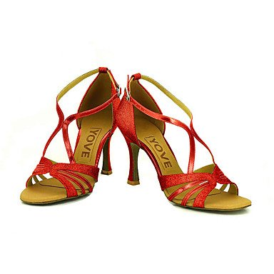 Bleu Personnalisé de Chaussures Rouge Or Personnalisables Latine Talon Salsa danse Argent Paillette black Noir Brillante wqgBq