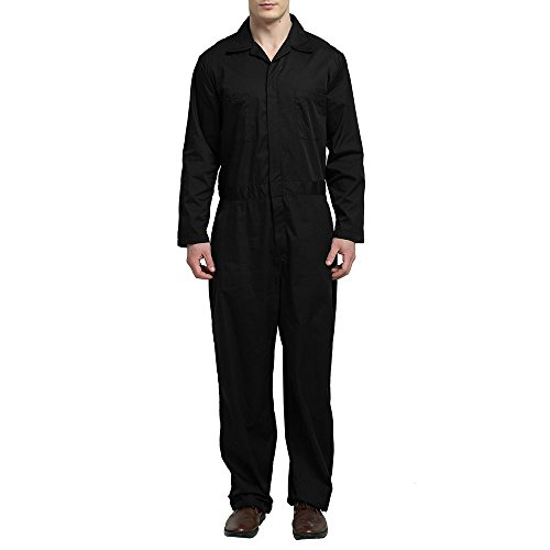 TOPTIE Men's Basic Long Sleeve Twill Zip-Front Coverall, Black, - Space Crawl Jumpsuit