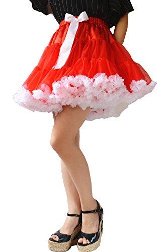 YSJ Women's Pettiskirt Tutu 3-Layered Petticoat Mini Lolita Dance Cosplay Skirt (Red)