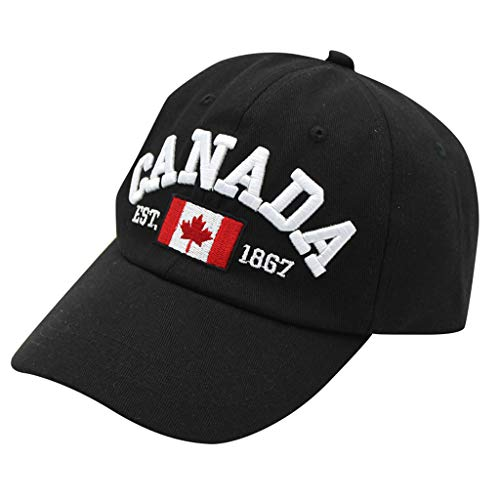 1867 Baseball Cap,Unisex Canada Flag Print Ball Cap Cotton Comfy Hat Outdoor Dad Hat (Free, Black) (Xbox One Best Price Canada)