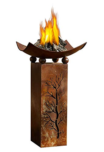 (PSW - Garden Decor Decorative Rustic Metal Fire Pillar with Removable Bowl - Brazier Fire Column, 2pc Set Product SKU: GD229513)