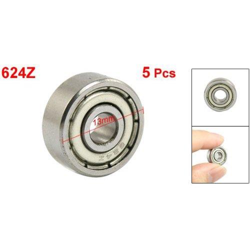 Sonline 4 x 13 x 5mm Shielded Micro Mini Small Wheel Ball Bearings 624Z 5 Pcs