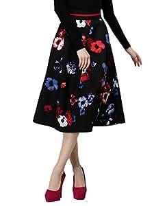 Husna Salsabil Kouri's Shop 1354415J0DW252150UE High Waist Floral Pattern Midi Skater Skirt Color Red Size M