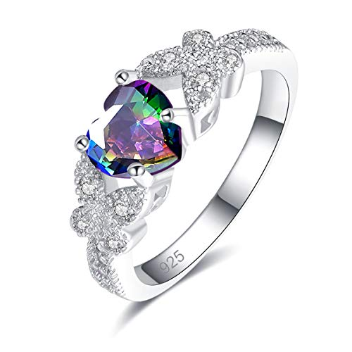 Psiroy 925 Sterling Silver Heart Shaped Created Rainbow Topaz Filled Butterfly Ring for Women Size 7