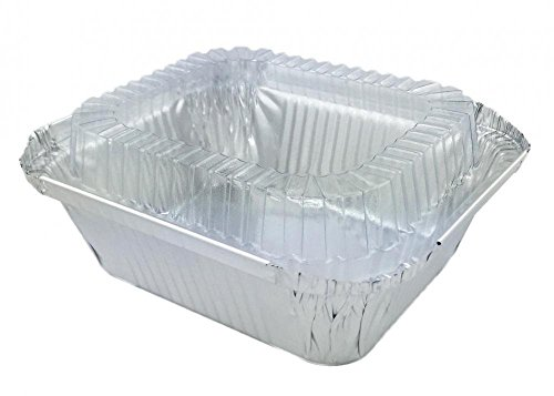 Disposable Aluminum Foil Baking Pans 1 Lb. Oblong With Lids For Pastries, Sweets, Pasta, Lasagna, Frozen Food And More. 20 Sets (20 Pans /20 Lids)