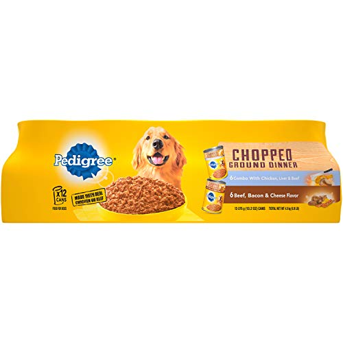 - PEDIGREE Chopped Ground Dinner Combo with Chicken, Liver & Beef and Beef, Bacon & Cheese Flavor Adult Canned Wet Dog Food Variety Pack, (24) 13.2 oz. Cans