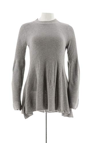 Laurie Felt Cashmere Blend Sweater Bell SLVS Flannel Grey S New A301677 -