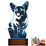 Novelty Lamp, Night Light 3D LED Lamp Optical Illusion Corgi Dog, 16 Color Remote Control Changes, with USB Charging Connector, Children's Birthday Gift Bedroom Decoration,Ambient Light