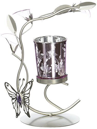 Silver & Purple Butterfly Lilly Candle Holder Metal Sculpture Home Wedding or Party Decor from Tom & Co.