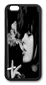 Brunettes Girls Smoking Grayscale TPU Case Cover for iPhone 6 plus and iphone 6 plus 5.5 inch Black