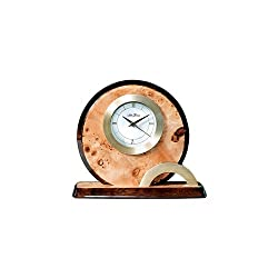 Seth Thomas Burl Finish Wood Case Gold Tone Bezel with Off-White Dial Round Alarm Mantel Clock with Plate