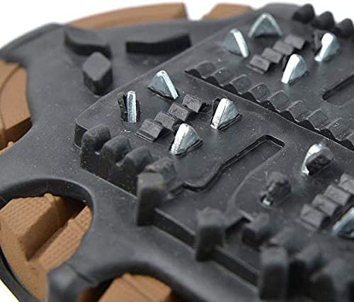 Blue Jade Anti Slip Crampons Ice Traction Cleats, 24 Studs Ice Traction for Hiking Fishing Walking Climbing Mountaineering