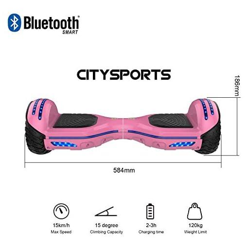 CITYSPORTS Balance Board 6.5 Pouces, Balance Board Smart Scooter 2x350W avec LED