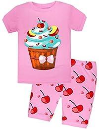 Little Girls Pajama Set Kids T Shirt Top & Pants 100% Cotton Sleepwear (2-7 Years)