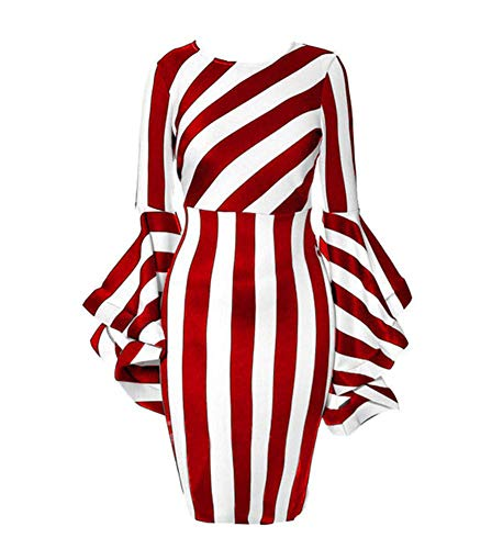 YUHENG Women Plus Size Dresses for Wedding Fashion Horn Long Sleeve red and White Stripe so Soft and Comfortable Milk Silk Elegant Formal Dresses (red 2XL)