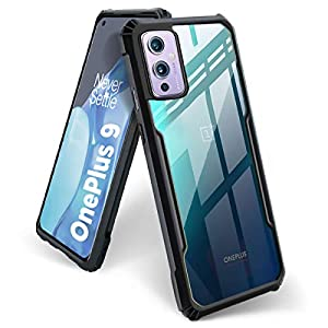 BASECASE Poly Carbonate with TPU Shock Proof Clear Hybrid Hard Back Case Mobile Cover for 1+9 OnePlus 9 5G (Jet Black)