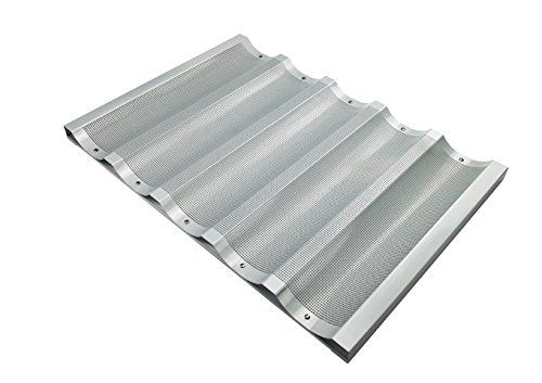 Winco ABP-5W, 18 x 26-Inch 5 Slot Wide Aluminum Baguette Pan, Baking French Bread Pan, Perforated Loaf Pan, NSF
