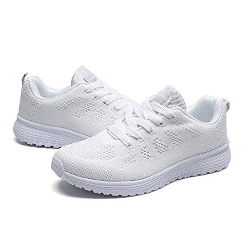 Verano para Sandalias Transpirables Running Mujer QinMM Respirable Zapatos de Deportes Zapatillas Merceditas Blanco Cómodos qxRPawEY