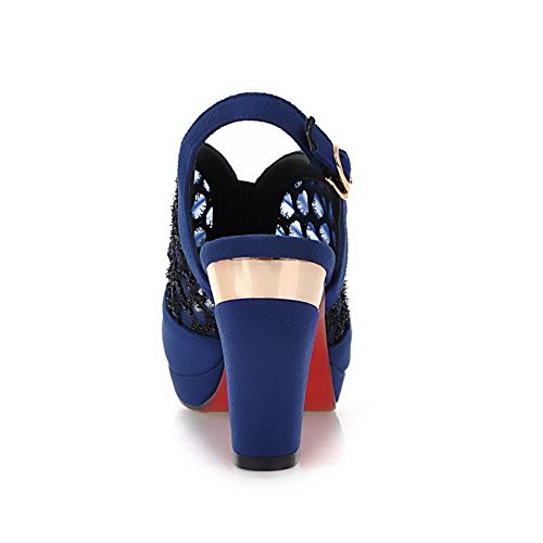 Blue Allhqfashion Sandals 36 Imitated Suede Buckle Women's Heels Toe High Solid Peep wa67ACwq