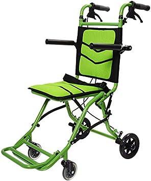 LXLCZ Silla de Ruedas Plegable Ligera Carro pequeño de aleación de Titanio y Aluminio Adecuado para Personas Mayores y discapacitadas Ancho del Asiento 35 cm Puede Cargar 100 kg Verde