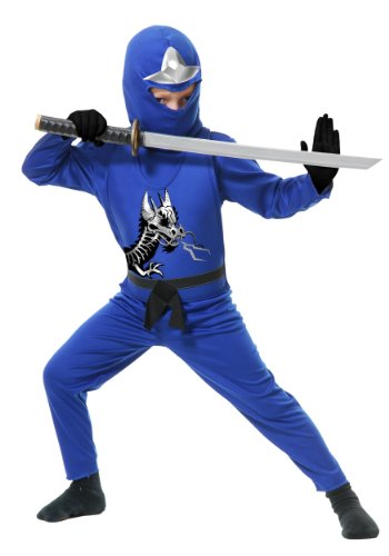 Kids Blue Ninja Costume - Charades Child's Ninja Avenger Costume Jumpsuit, Blue, Medium